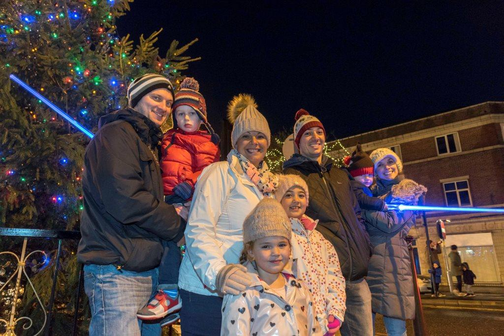 Families enjoying the Christmas lights compressed